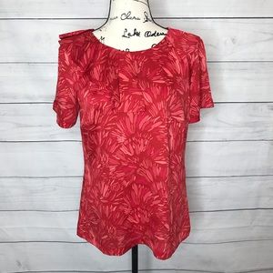 Banana Republic red palm print blouse S